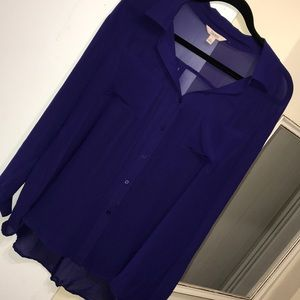 Decree shear chiffon button up shirt purple